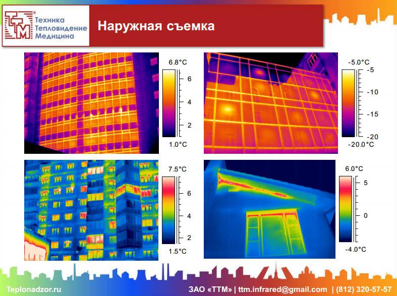 Примеры термограмм с дефектами конструкций