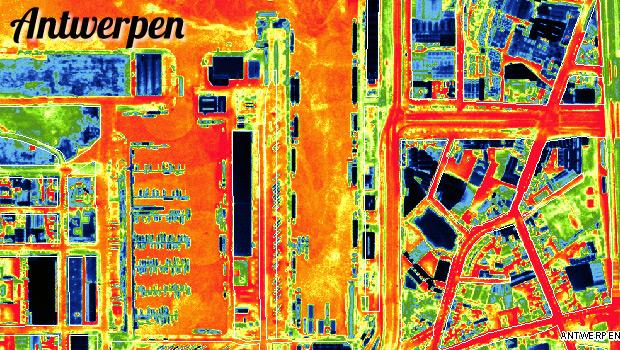 Антверпен - карта тепловая аэросъемка