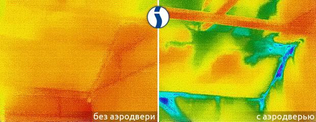 Тепловизионное обследование крыши с аэродверью