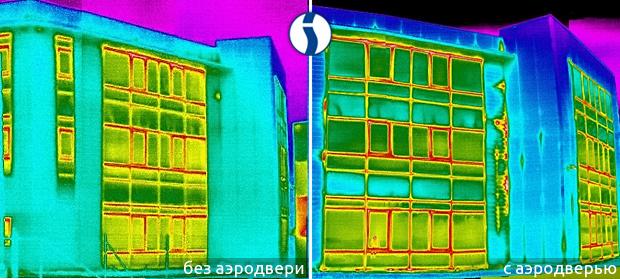 Тепловизионная съемка здания с аэродверью