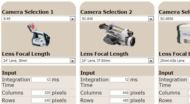 Thermal Camera and Lens Combination Calculator