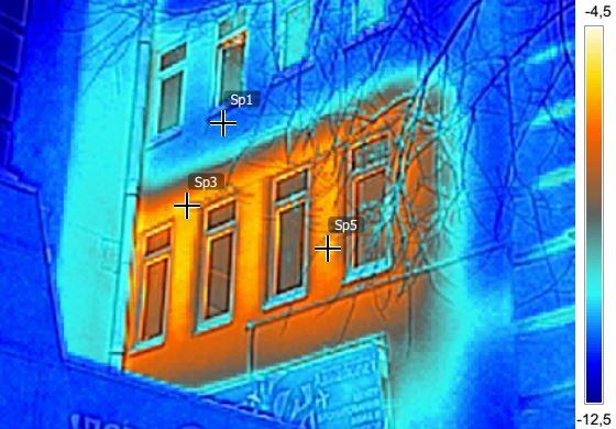 Анализ термограмм фасада здания