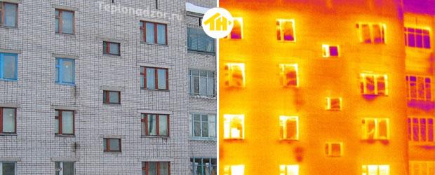 термограмма фасада кирпичного здания